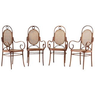Set of Four Thonet No. 17 Bentwood and Cane Armchairs For Sale