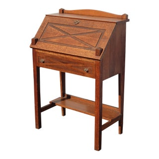 Vintage French Country Brown Drop Leaf Desk W Mail Slots File Cabinet For Sale