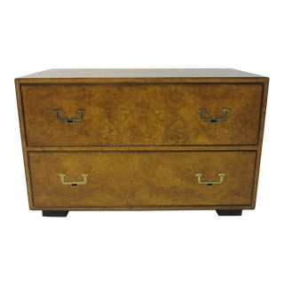 Mid 20th Century Burl Wood/ Brass Low Chest by John Widdicomb For Sale
