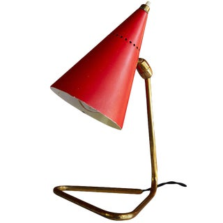 1950s Giuseppe Ostuni Red Cone Table Lamp for Oluce For Sale