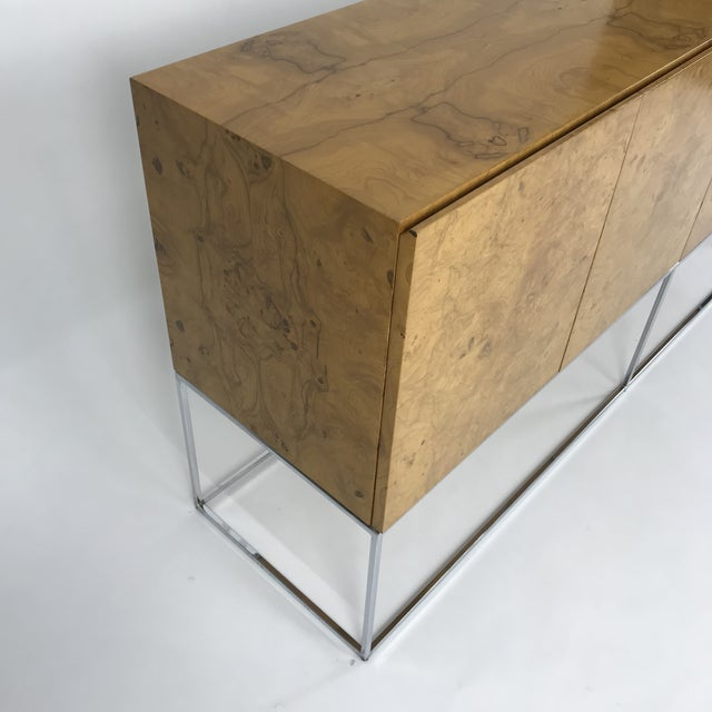 Olive Burl Credenza With Chrome Base Designed by Milo Baughman for Thayer Coggin For Sale - Image 9 of 13