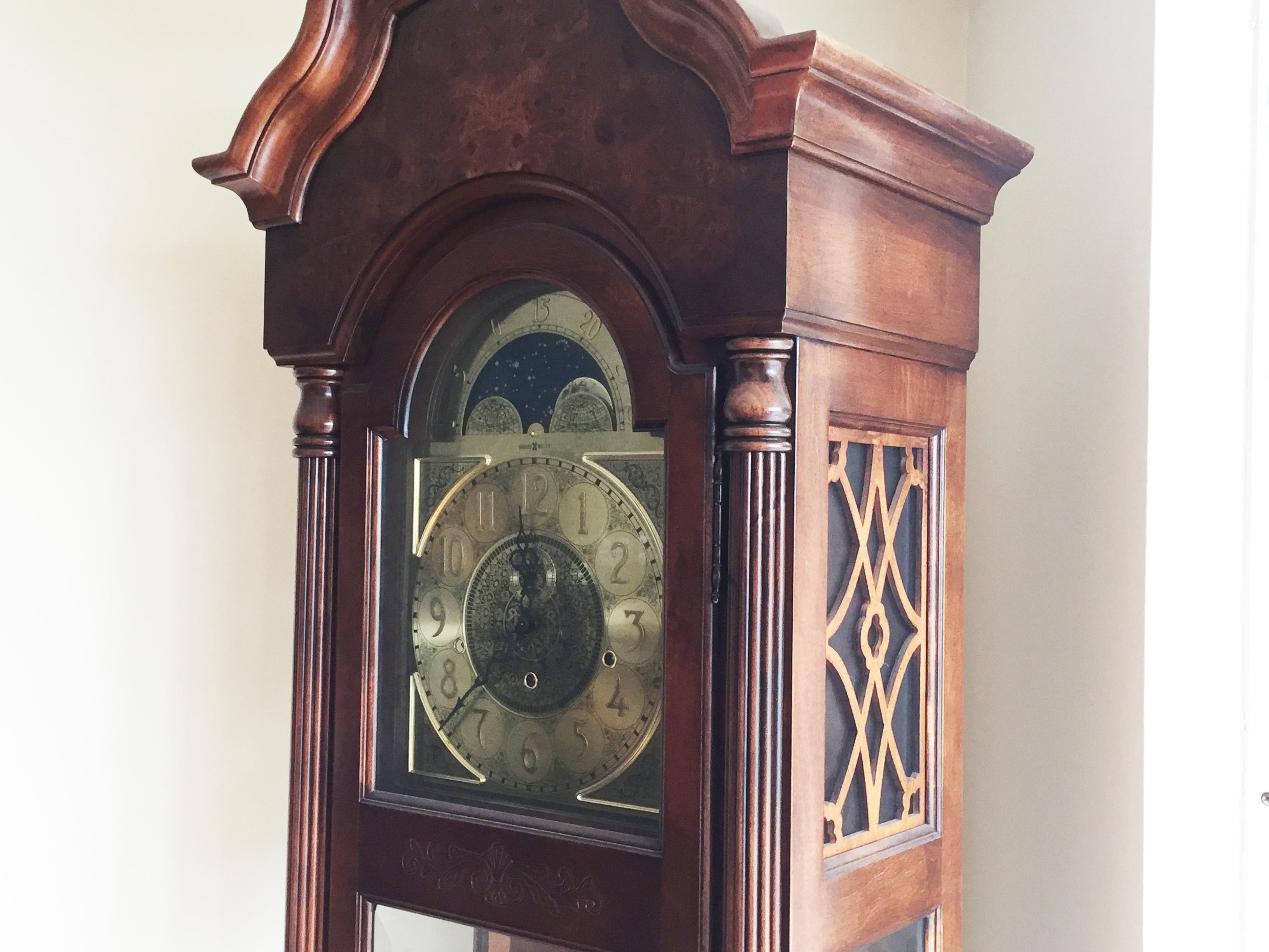 Vintage Howard Miller Cherry Grandfather Clock Chairish