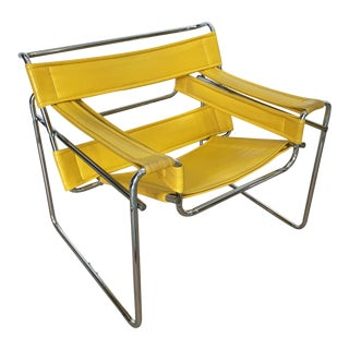 Marcel Breuer Wassily Style Yellow Pvc Leather and Steel Chair Armchair For Sale