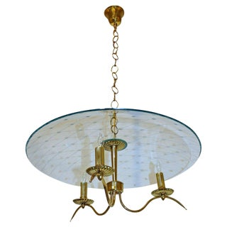 Italian Fontana Arte Style Brass Etched Glass Chandelier For Sale