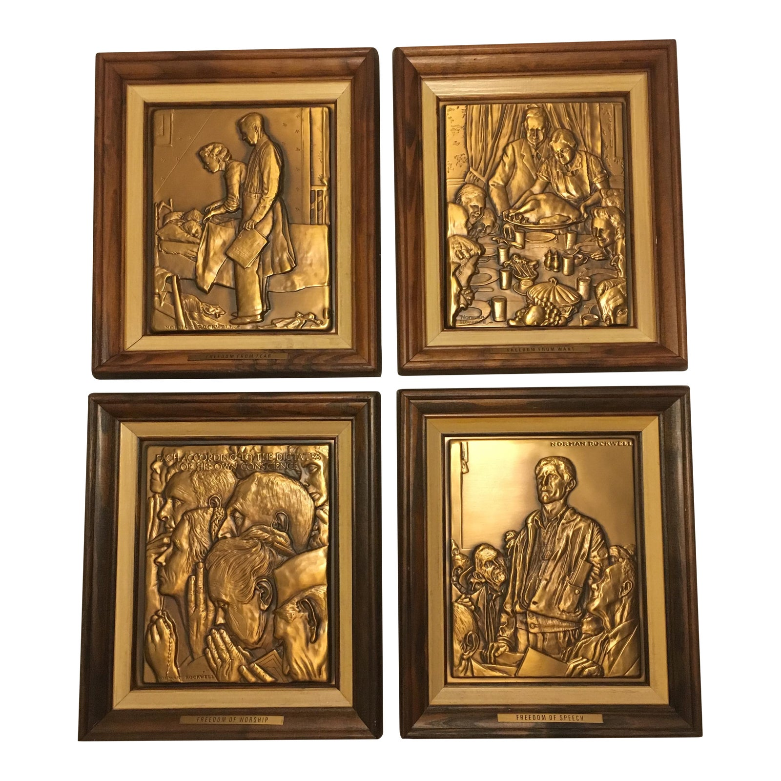Bronze Norman Rockwell Four Freedoms Plaques Chairish