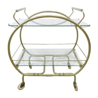 Vintage MCM Bauhaus Style Metal & Glass Bar Cart For Sale