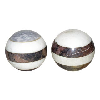Italian Marble Balls - a Pair For Sale