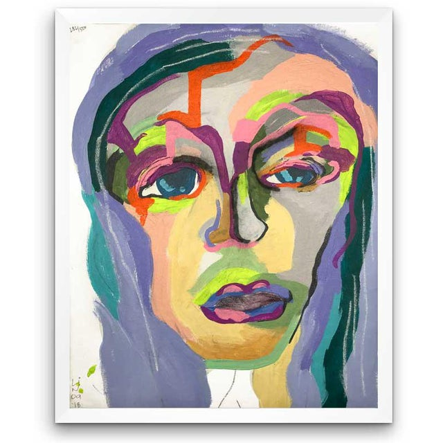 """Contemporary Abstract Portrait Painting """"My Mother's Daughter"""" - Framed For Sale - Image 9 of 9"""