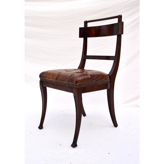 2000 - 2009 Henredon Hanover Tufted Leather Dining Chairs, Pair For Sale - Image 5 of 13