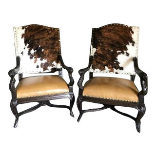 Custom Cowhide and Leather Over-Sized Arm Chairs- A Pair For Sale