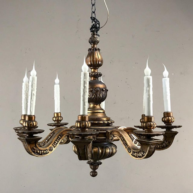 Early 20th Century Antique Italian Giltwood Chandelier For Sale - Image 5 of 13