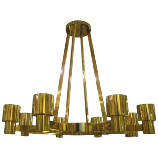 Custom Sculptural Brass Chandelier With Eight Arms For Sale