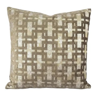 "Taupe Chenille Fretwork on Silver Metallic Accent Pillow Cover - 20"" X 20"" For Sale"
