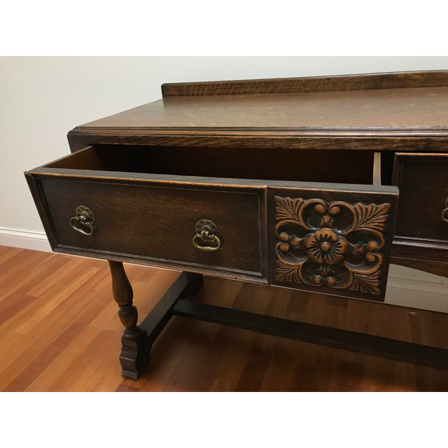 Late 19th Century English Jacobean Tudor Silverware Chest Server Quartern Sawn Oak For Sale - Image 6 of 13