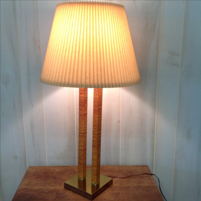 Hollywood Regency Rattan Wrapped Brass Table Lamp - Image 7 of 7