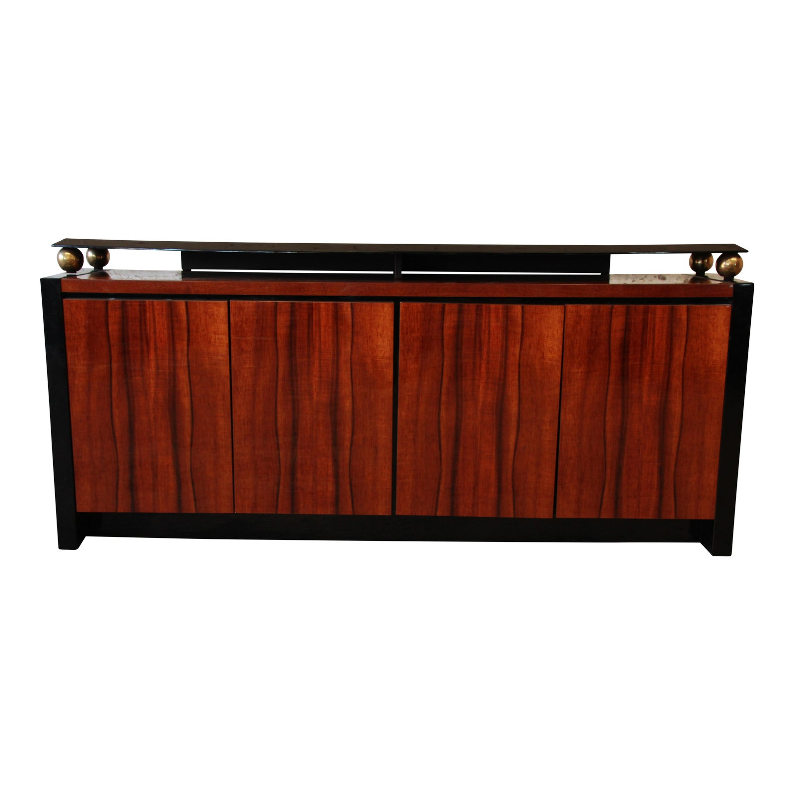 Koa Wood Kitchen Cabinets: Henredon Elan Collection Black Lacquer & Koa Wood Credenza