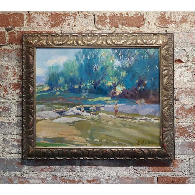 Blue Summer at the River-California Impressionist Oil Painting-E. Andia For Sale - Image 8 of 8