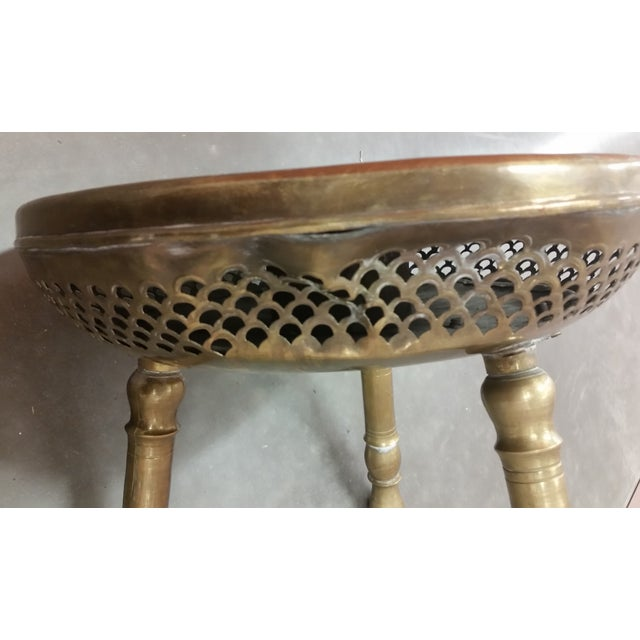 Authentic Antique Brass Moroccan Brazier Stool - Image 9 of 9