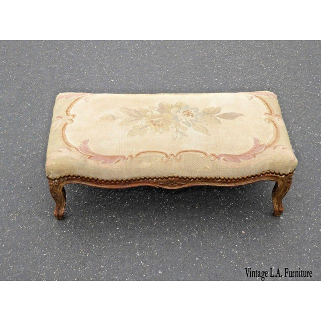 1960s Antique Carved Wood Floral Tapestry Footstool For Sale - Image 13 of 13