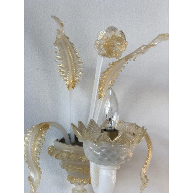 Murano Murano Glass Handblown Sconces With Milk White Glass and Gold Leaf, Early 20th C. - a Pair For Sale - Image 4 of 6