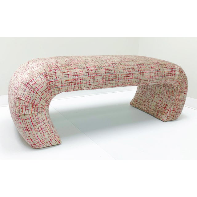Wood 1970s Waterfall Bench in the Manner of Karl Springer For Sale - Image 7 of 7