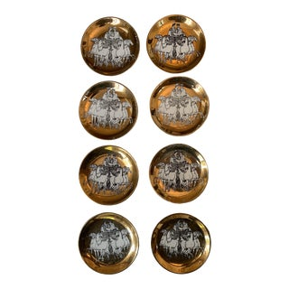 "1860 P. Fornasetti ""Roman Quadriga "" Brass Plates - Set of 8 For Sale"