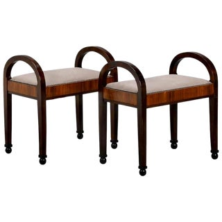 Pair French Art Deco Upholstered Benches