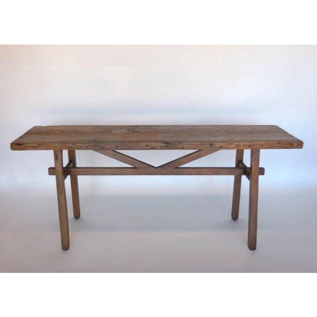 Reclaimed Wood Console with High Stretcher - Image 3 of 8