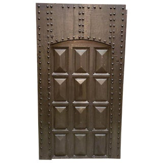 1970s Vintage Dark Brown & Green Moroccan Wooden Door For Sale