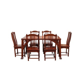 Chinese Yellowish Brown Rosewood Rectangular Dining Table Set 6 Chairs For Sale