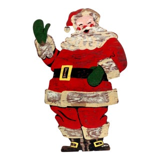 Vintage Santa Claus Wood Sign For Sale
