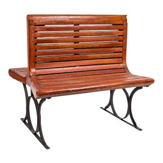 1920s French Paris Metro Second Class Double Sided Wooden Slatted Bench For Sale