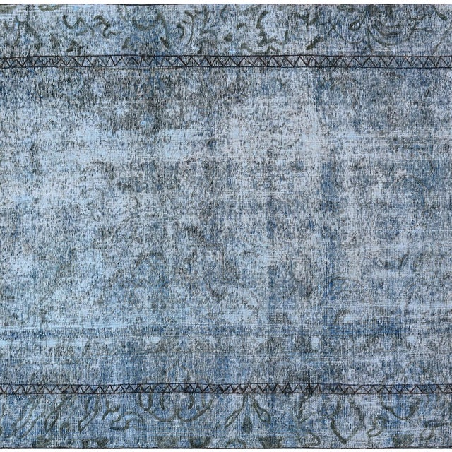 "Vintage Blue Overdyed Rug - 4'5"" x 12'1"" - Image 2 of 2"