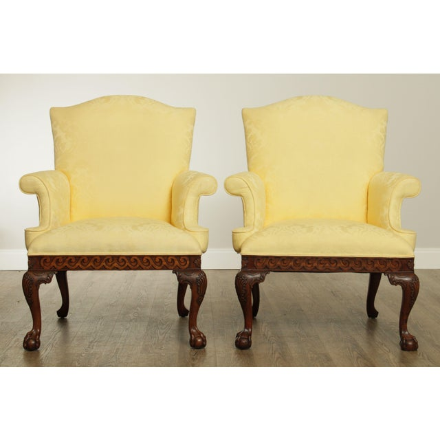 Chippendale Ardsley Hall Fine Chippendale Style Ball & Claw Mahogany Pair Library Armchairs For Sale - Image 3 of 13