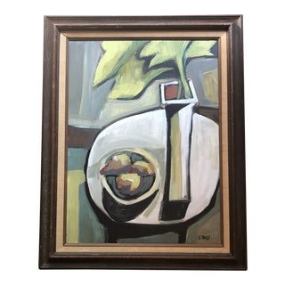 Original Contemporary Stewart Ross Modernist Still Life Painting Vintage Frame For Sale