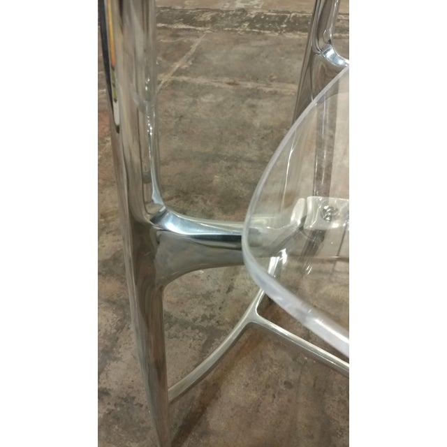 Designer Lucite & Polished Steel Bar Stools - Set of 3 For Sale - Image 10 of 10
