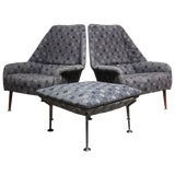 Image of Ernest Race Lounge Chairs and Ottoman in Eames Upholstery - A Pair For Sale