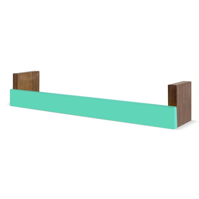 """Minimo Modern Walnut Wood 34"""" Large Floating Shelf. This bright and bold shelf will compliment any modern room. Inspire..."""