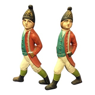 Vintage Hessian Soldier Andirons - A Pair