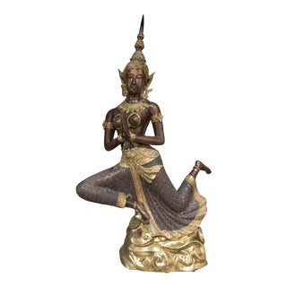 Large Thai Bronze and Gilt Statue For Sale