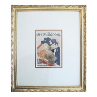 1950 Vintage Ault & Wiborg Lithographic Plate, Toulouse Lautrec (Framed) For Sale