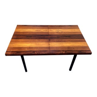 Milo Baughman Mixed Wood Striped Dining Work Utility Table Desk For Sale