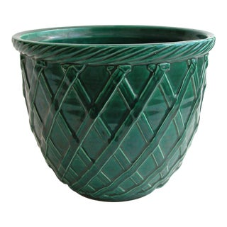 Vintage Green Haeger Basket Weave Planter For Sale