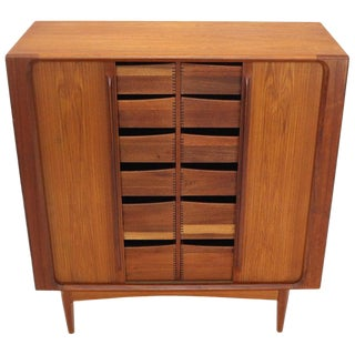 Danish Mid-Century Modern Tambour Doors Teak Double Chest Cabinet Tall Credenza For Sale