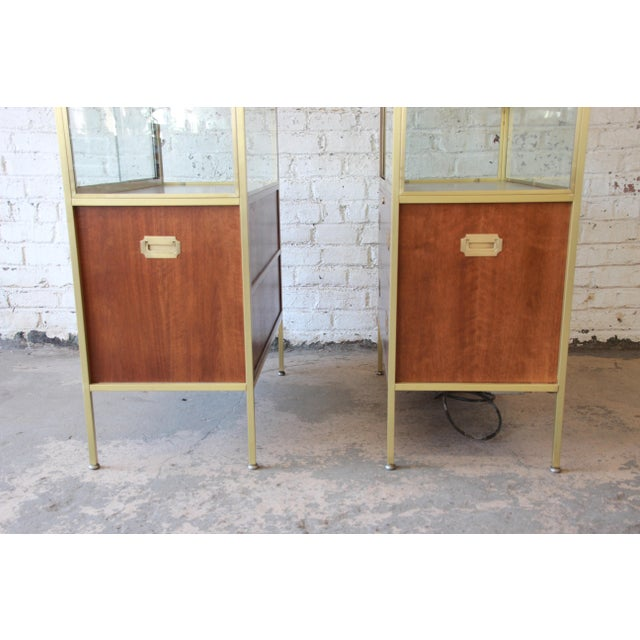 Baker Furniture Hollywood Regency Campaign Style Lighted Display Cabinets - a Pair For Sale - Image 9 of 13