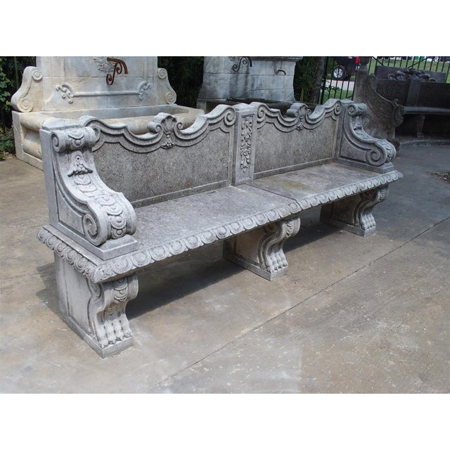 Carved Limestone Garden Bench from Northern Italy - Image 2 of 11