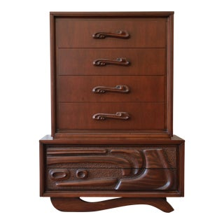 Mid-Century Sculptural Highboy Dresser in the Style of Philip Lloyd Powell For Sale