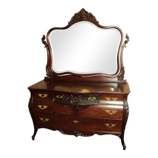 Late 19th Century Antique French Style Mahogany Dresser With Mirror For Sale