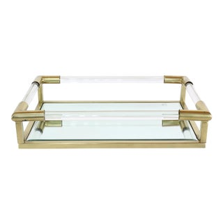 Vintage Brass and Glass Tray For Sale