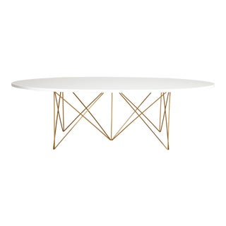Hayden Coffee Cocktail Table, Mid-Century Inspired White Lacquer Top with Gold Powder Coated Base For Sale